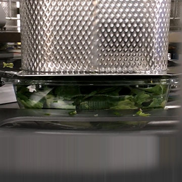 Machine filling trays with salad