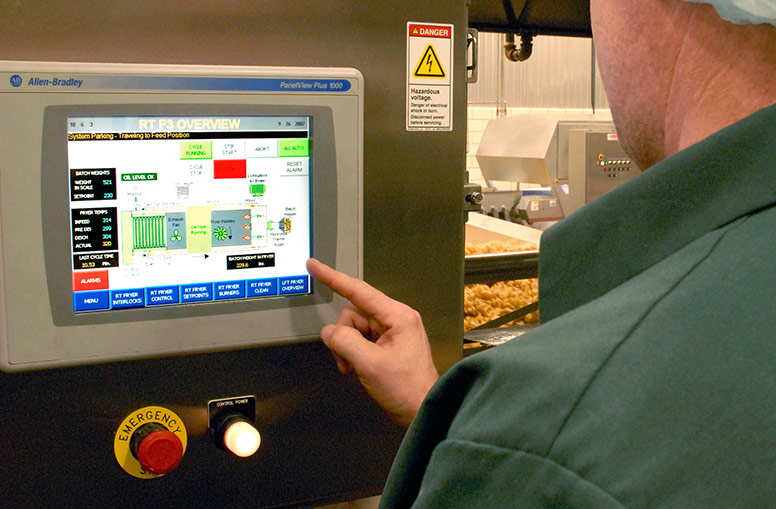 Operator controls for potato chip fryers