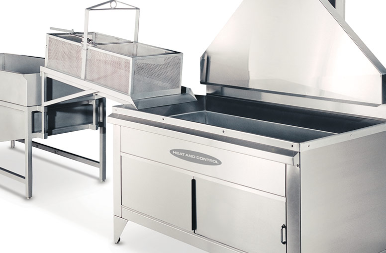 Heavy-duty batch fryer with optional exhaust collector and cabinet