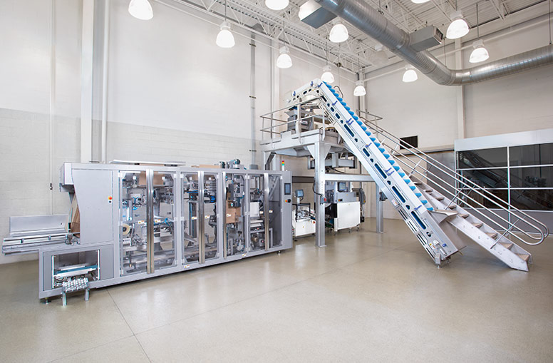 Complete packaging line automation for snack foods