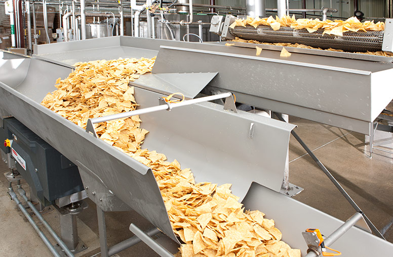 Tortilla chips conveying on accumulation equipment