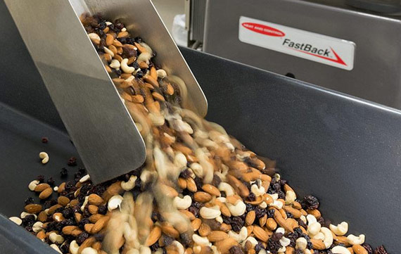 Varilift infeed transferring mixed nuts
