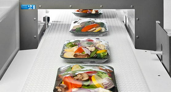 Vegetable trays on CEIA metal detector with conveyor