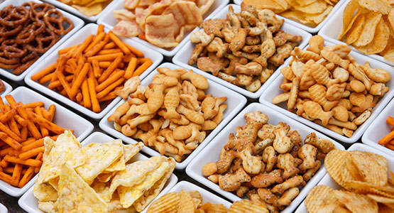 Variety of snack foods