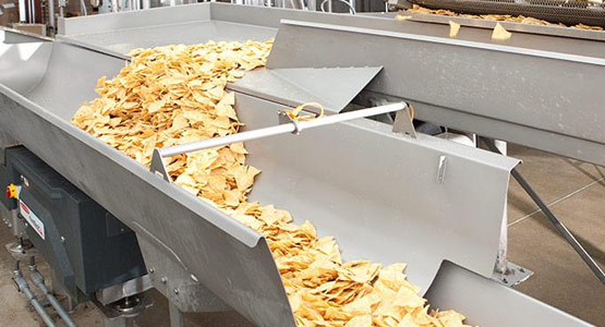 Accumulation conveying for potato chips