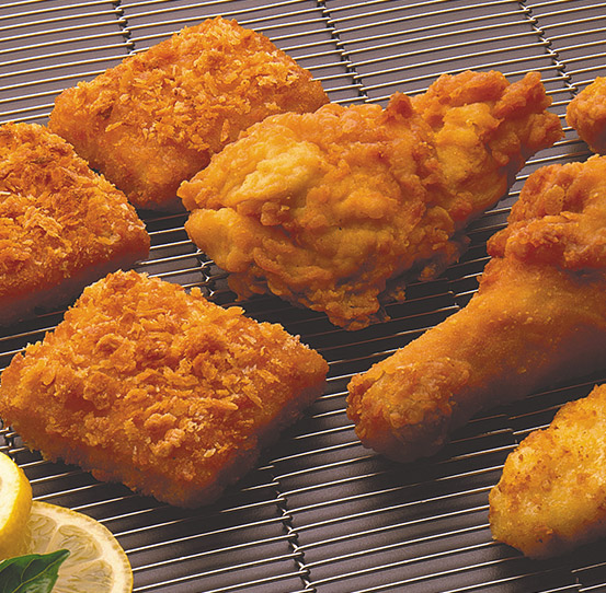 Frying breaded meat, poultry, seafood and other prepared foods