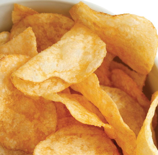 Batch frying kettle-style chips