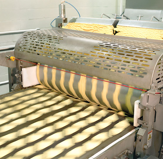 Sheeting equipment for tortilla chips, tortillas, and corn products