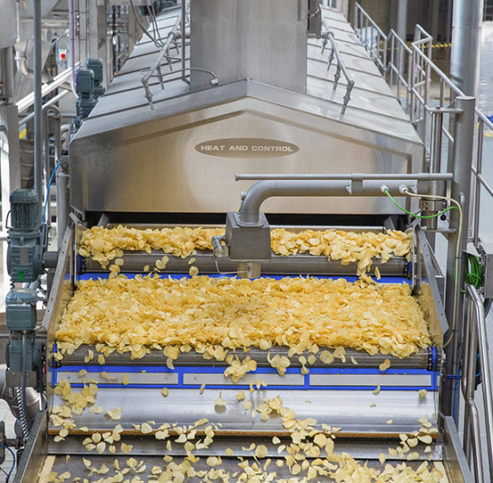 Complete potato chip frying line for snack foods
