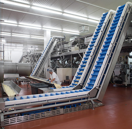 Incline conveying product to packaging platform