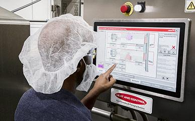 Operator controls and info systems for food processing machinery