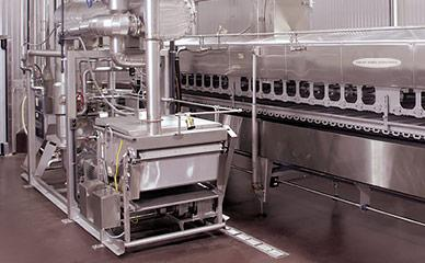 Fryer support module for corn tortilla chips frying system