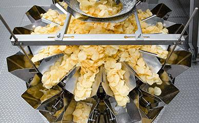 Weighing systems for hard-bite kettle chips