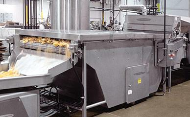 Product cooling machine for tortilla chip line