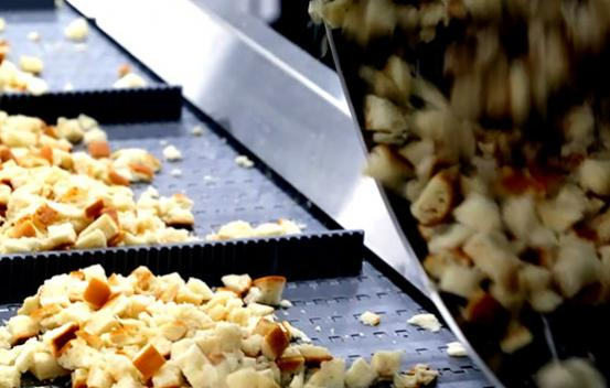 Spray Dynamics equipment seasoning baked croutons