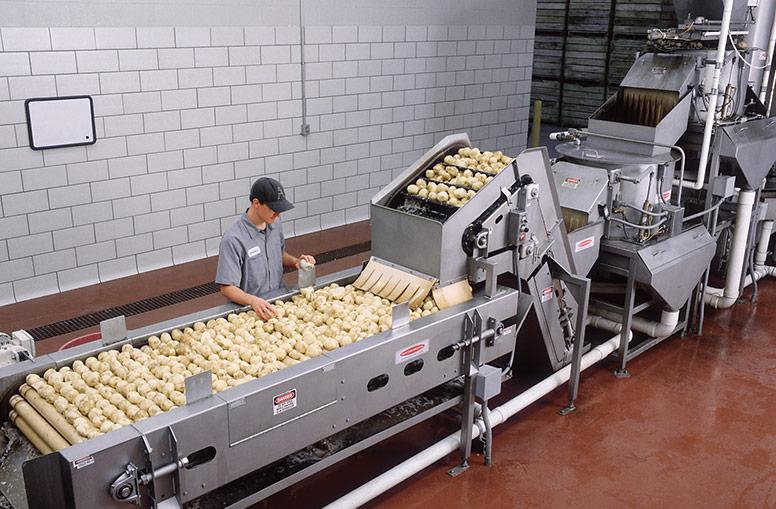 Batch peeler with trim-inspection system
