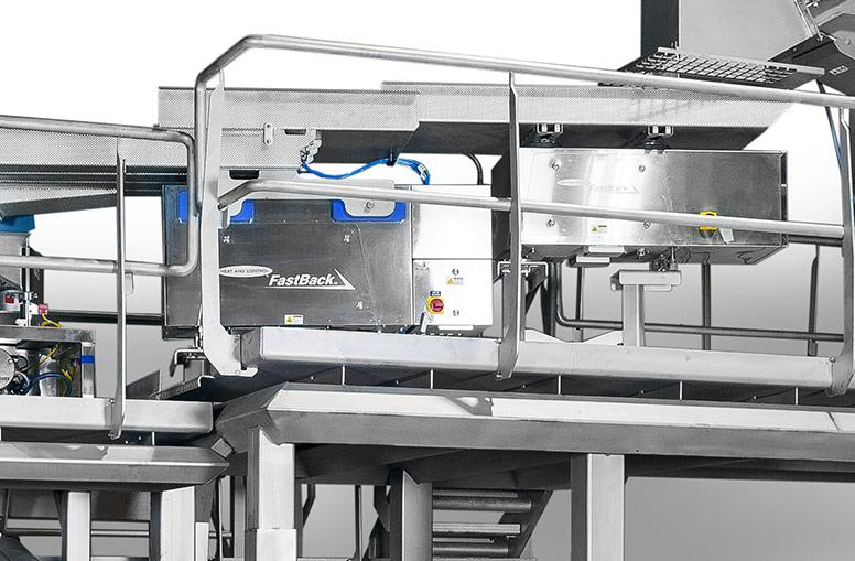 Full stainless steel slicer infeed with horizontal motion conveyor