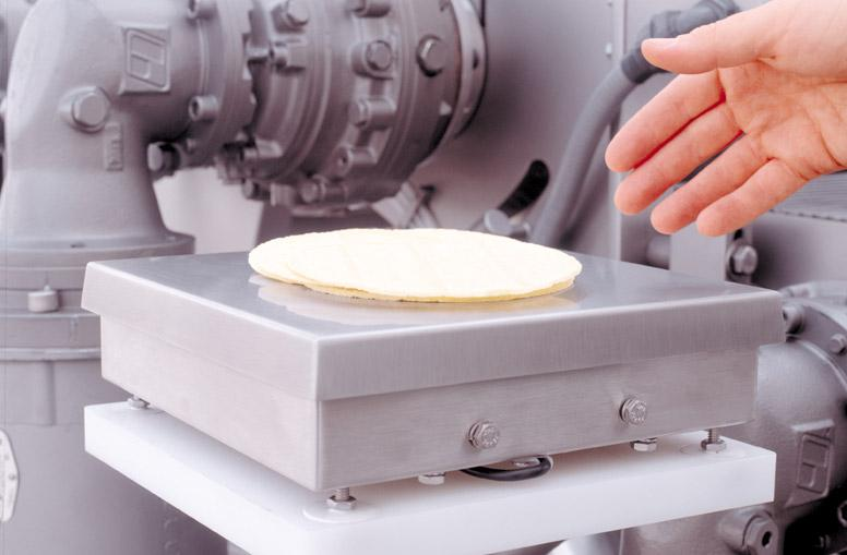 Weighing tortillas on Paragon Sheeter